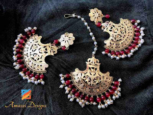 Golden Dark Red Beads Oversize Tikka and Earrings