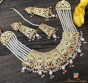 Majestic Golden Panjabi Jadau White Beads Earring Tikka Necklace Set