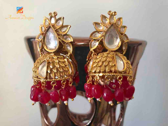 Golden Red Jhumki Earrings