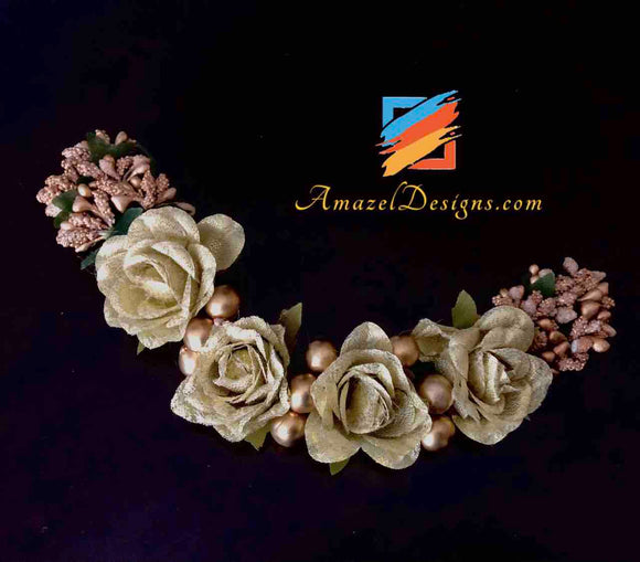Golden Roses with Copper Beads Gajra - Hair Accessory