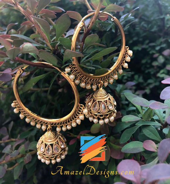 Golden normal size Polki Vaali with Jhumki