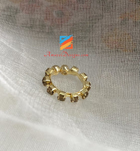 Golden With Champagne Stone Clip On Nose Ring