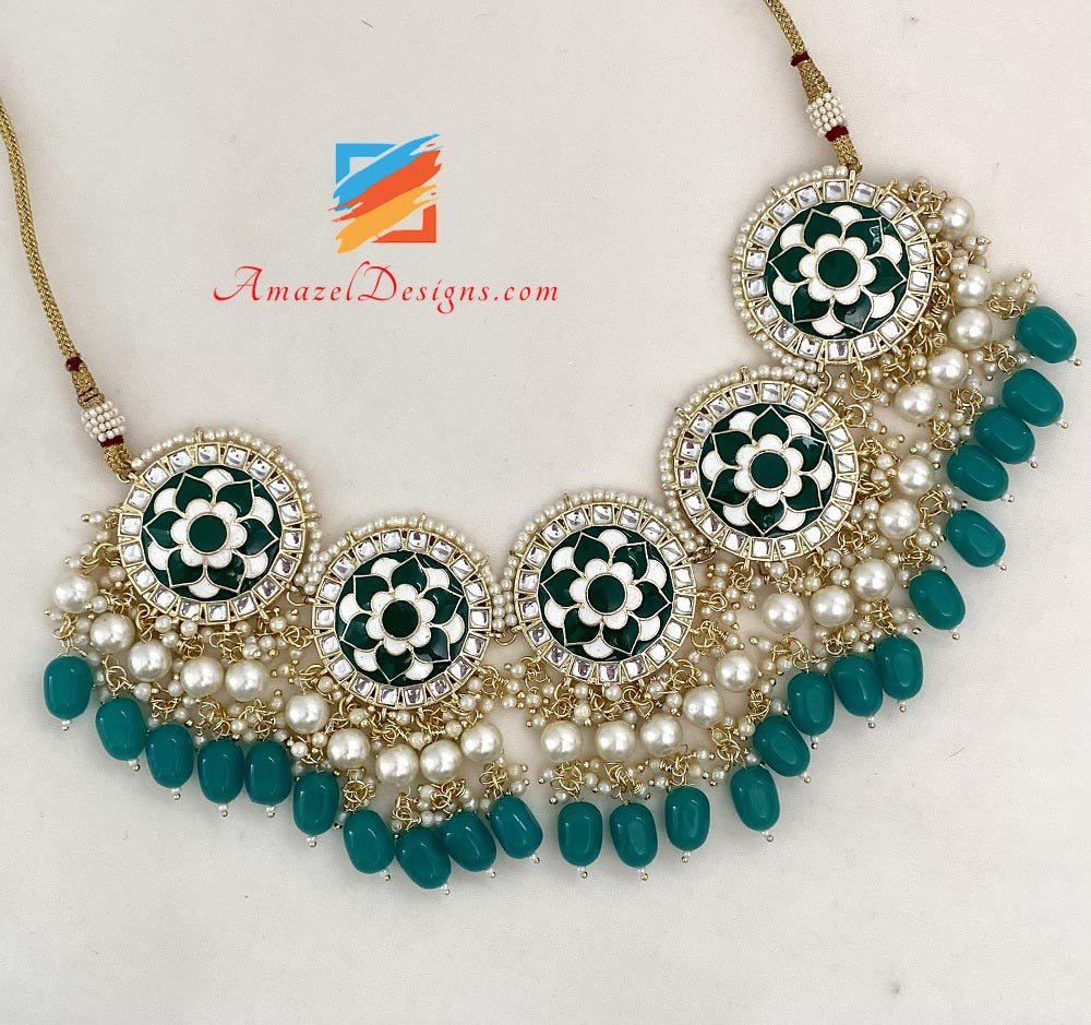 Green Kundan Hand Painted Choker/Necklace Studs Earrings Tikka Set