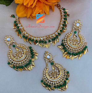 Green Kundan Pippal Patti Necklace Oversized Earrings Tikka Sets