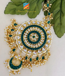 Green Oversized Kundan Earrings Tikka Set