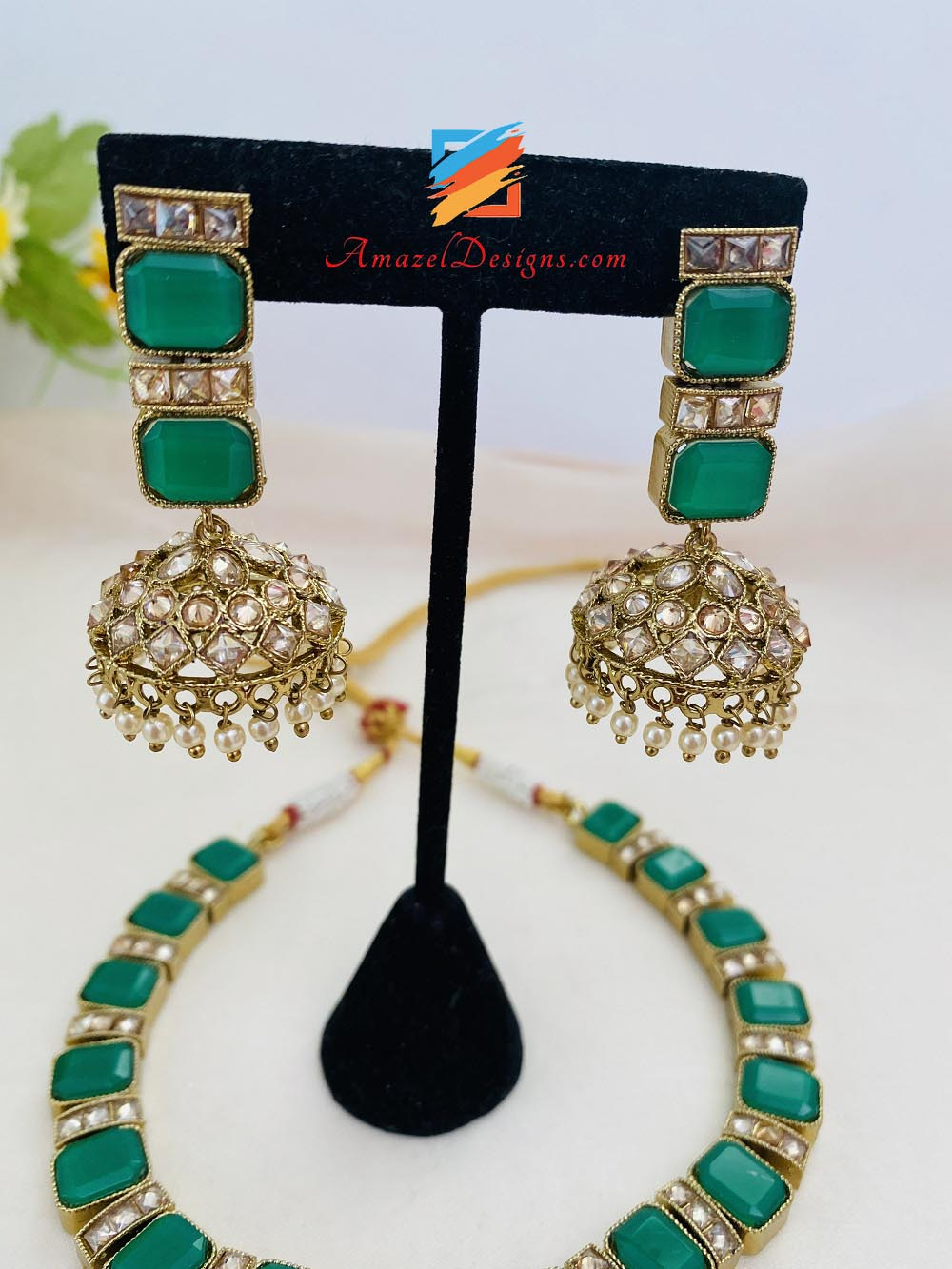 "Green ""Emerald"" Monalisa Choker Necklace Jhumki Tikka Set"