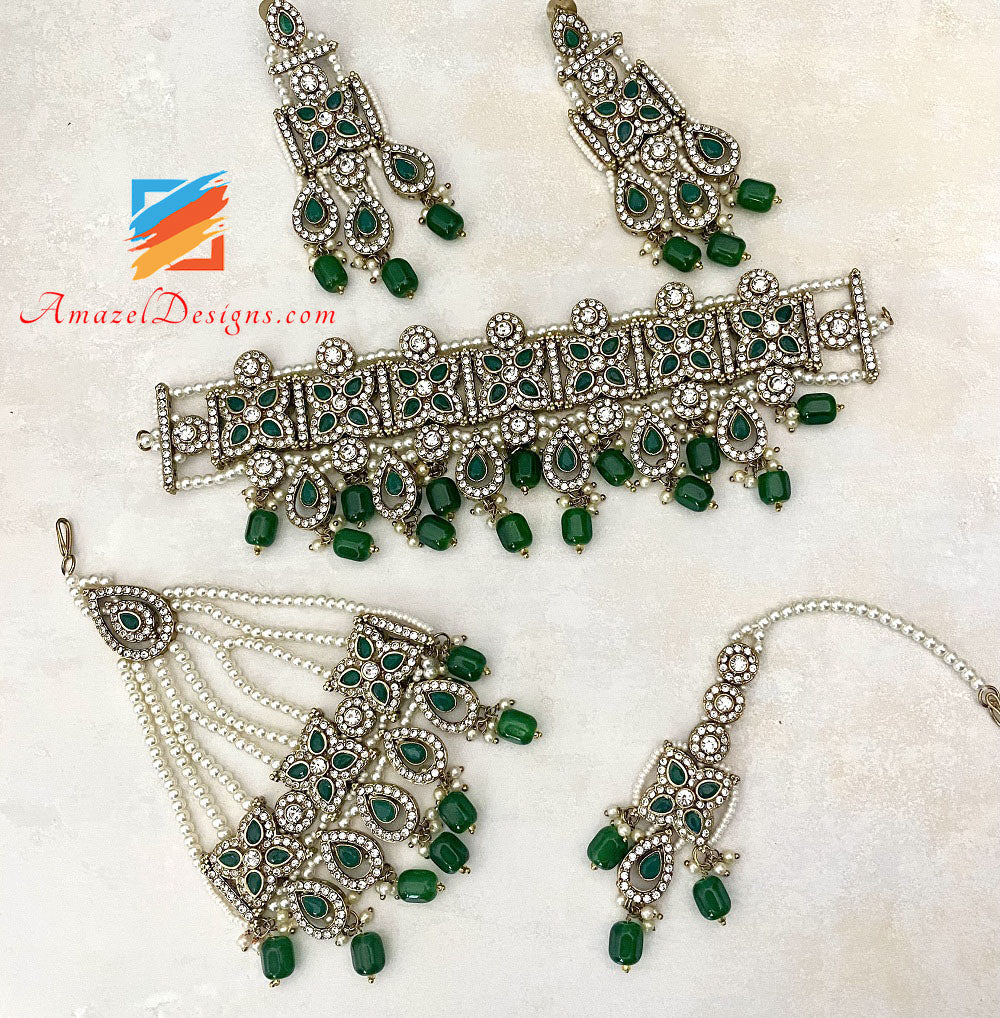Green Beads Stones Choker Necklace Earrings Tikka and Passa Set