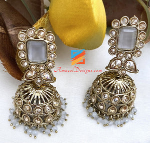 Grey Polki Choker Jhumki Earrings Tikka Set