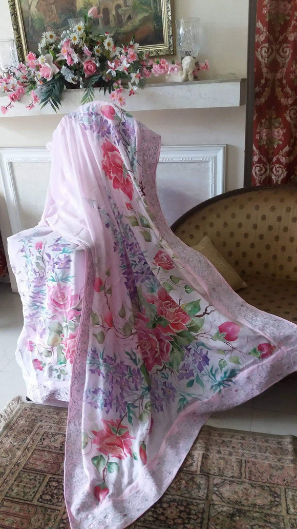 Roses and Larkspur Design - Suit Dupatta Saree Dress Scarf