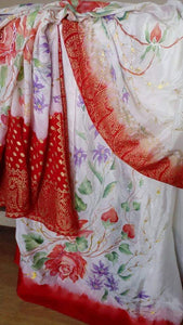 Roses and Mauve Fillers Design - Suit Dupatta Saree Dress Scarf