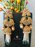 Hanging White and Green Beads Pearl Earrings
