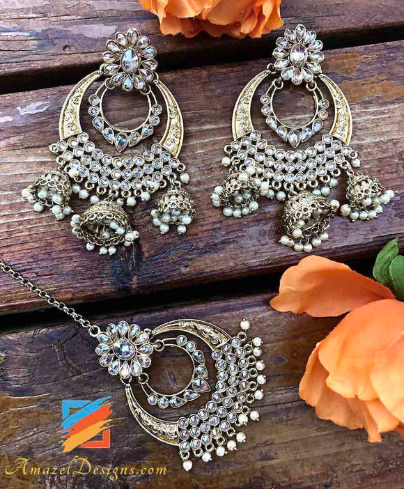 High Quality Chandbali Earrings Hanging Jhumkis
