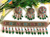 High Quality Multicoloured Choker with Emerald Beads and Stud Tikka Set