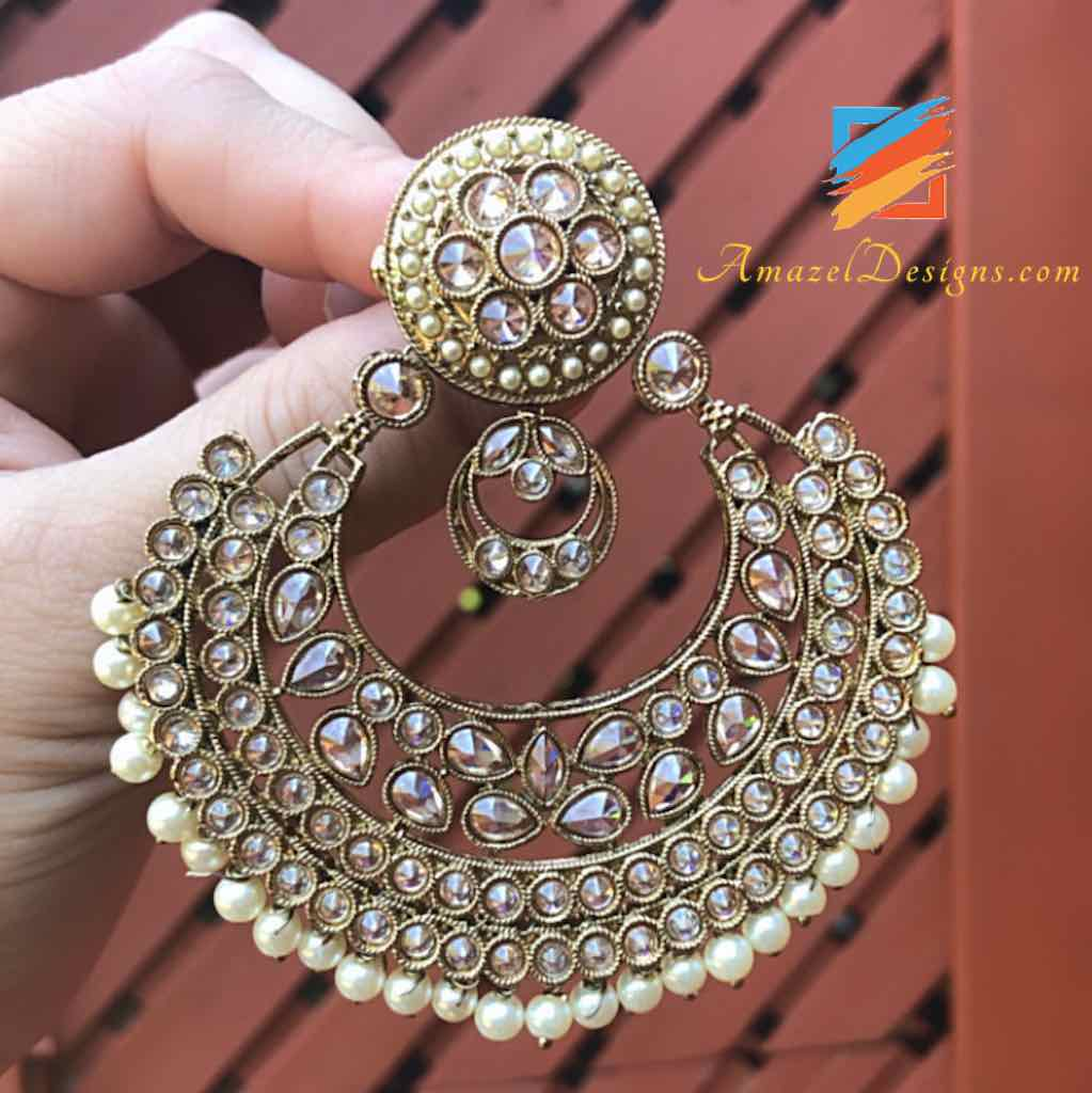 High Quality Oversized Polki Chandbali Earrings