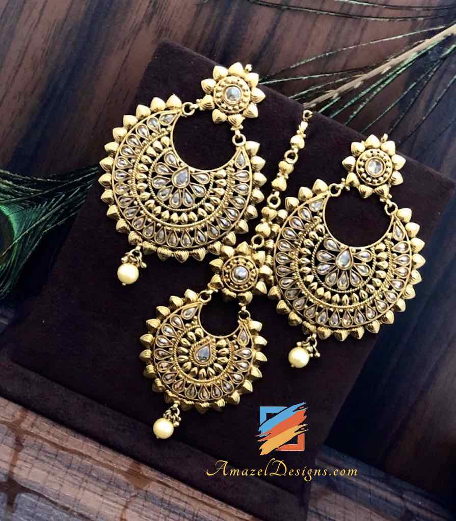 High Quality Polki Dull Gold Earrings Tikka Set