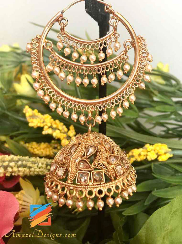 High Quality Polki Golden Chaand Waaliyaan with Big Jhumki