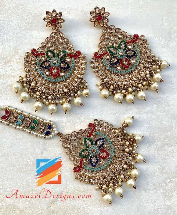 High Quality Polki Multicolor Oversized Maang Tikka Set