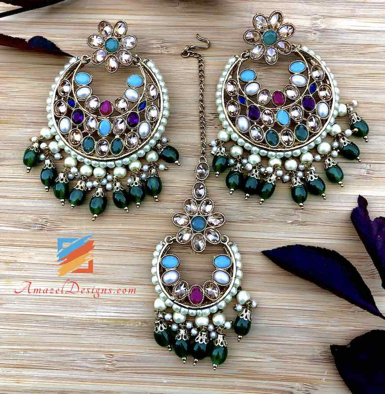 High Quality Polki Multicoloured Earrings Tikka Set with Emerald Beads