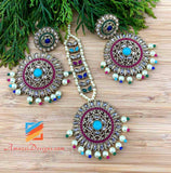 High Quality Polki Multicoloured Round Earrings Tikka Set