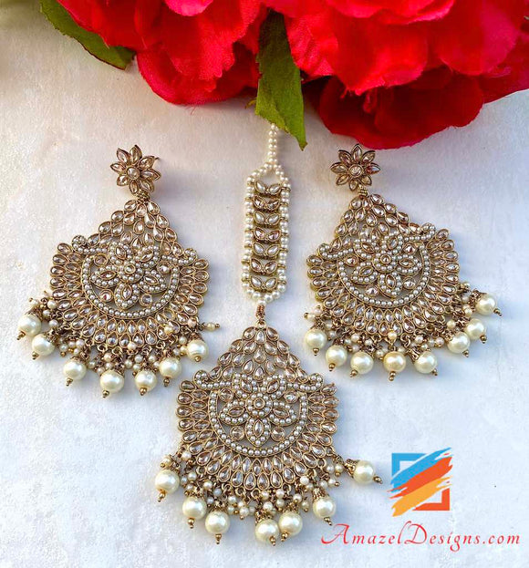 High Quality Polki Oversized Maang Tikka Set