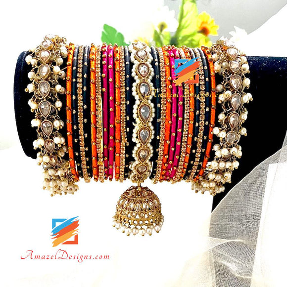 High Quality Polki Pearlie Jhumki Silk Thread Bangle Set