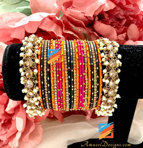 High Quality Polki Pearlie Silk Thread Bangle Set