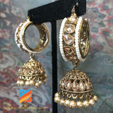 High Quality Polki Waliyaan with Jhumki and Cream Beads