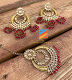 High Quality Red Beads Chandbali Earrings Hanging Jhumkis