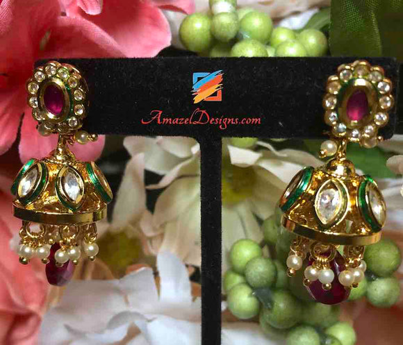 High Quality Kundan Small Jhumki