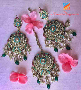 Emerald Pearls High Quality Multicoloured Polki Earring Tikka Set