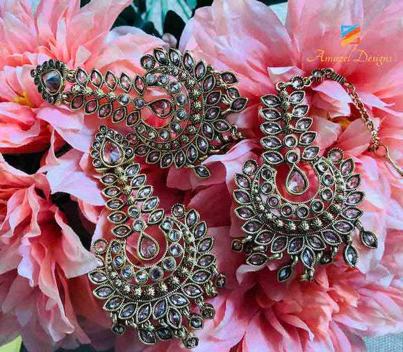 High Quality Polki Earring Tikka Set