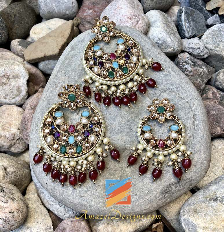 High Quality Multicoloured with Ruby pearls Earrings Tikka Set