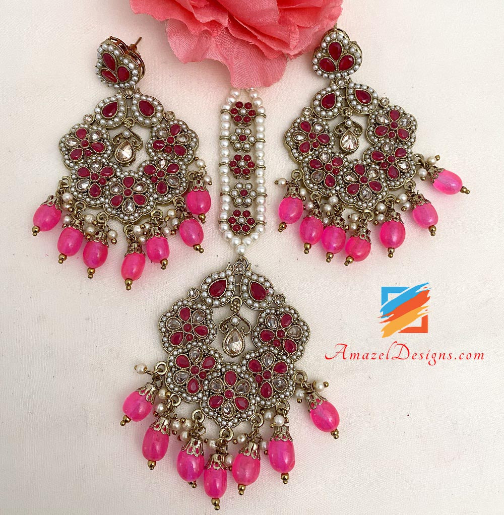 Hot Pink (Magenta) Polki And Beads Earrings Tikka Set