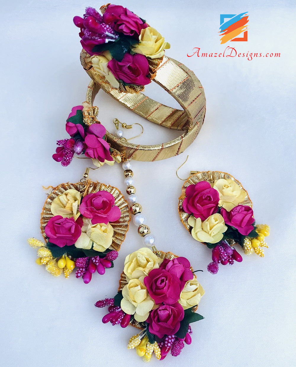 Hot Pink And Yellow Flower Jewellery Necklace And Bangles With Earrings Tikka Set