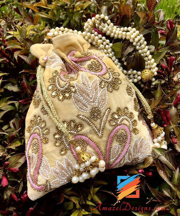 Beige Potli with Thread and Stone Work