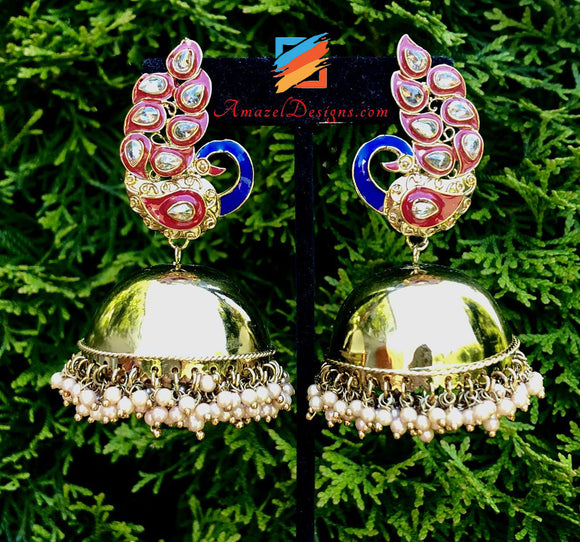 Extremely Lightweight Morni Polki Jhumka