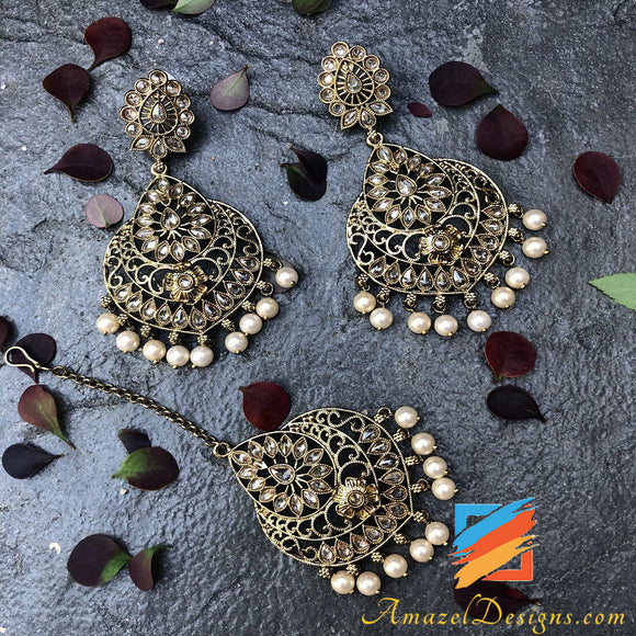 Polki Golden Earrings Tikka Set