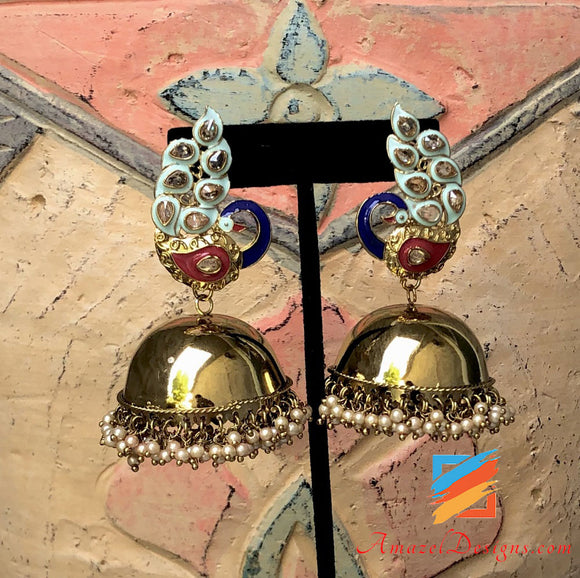 Golden Polki Pastel Blue Morni Jhumka
