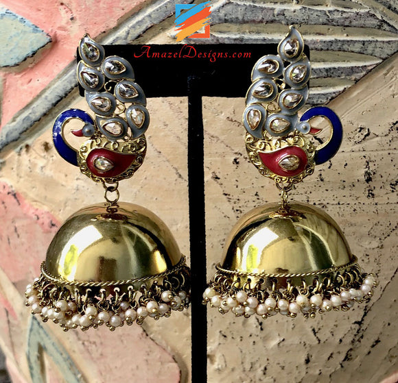 Super Lightweight Golden Polki Grey Morni Jhumka