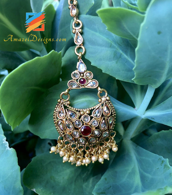 Highquality Polki with Ruby Stones and bunches of tiny beads Tikka