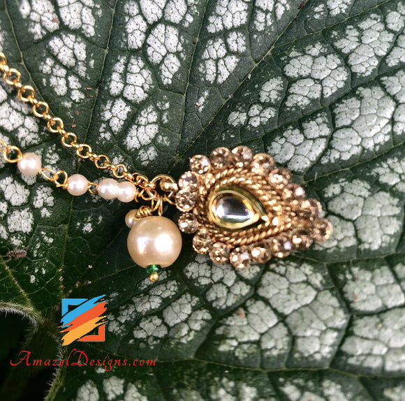 Kundan Nose Ring with Hanging Pearl and Chain