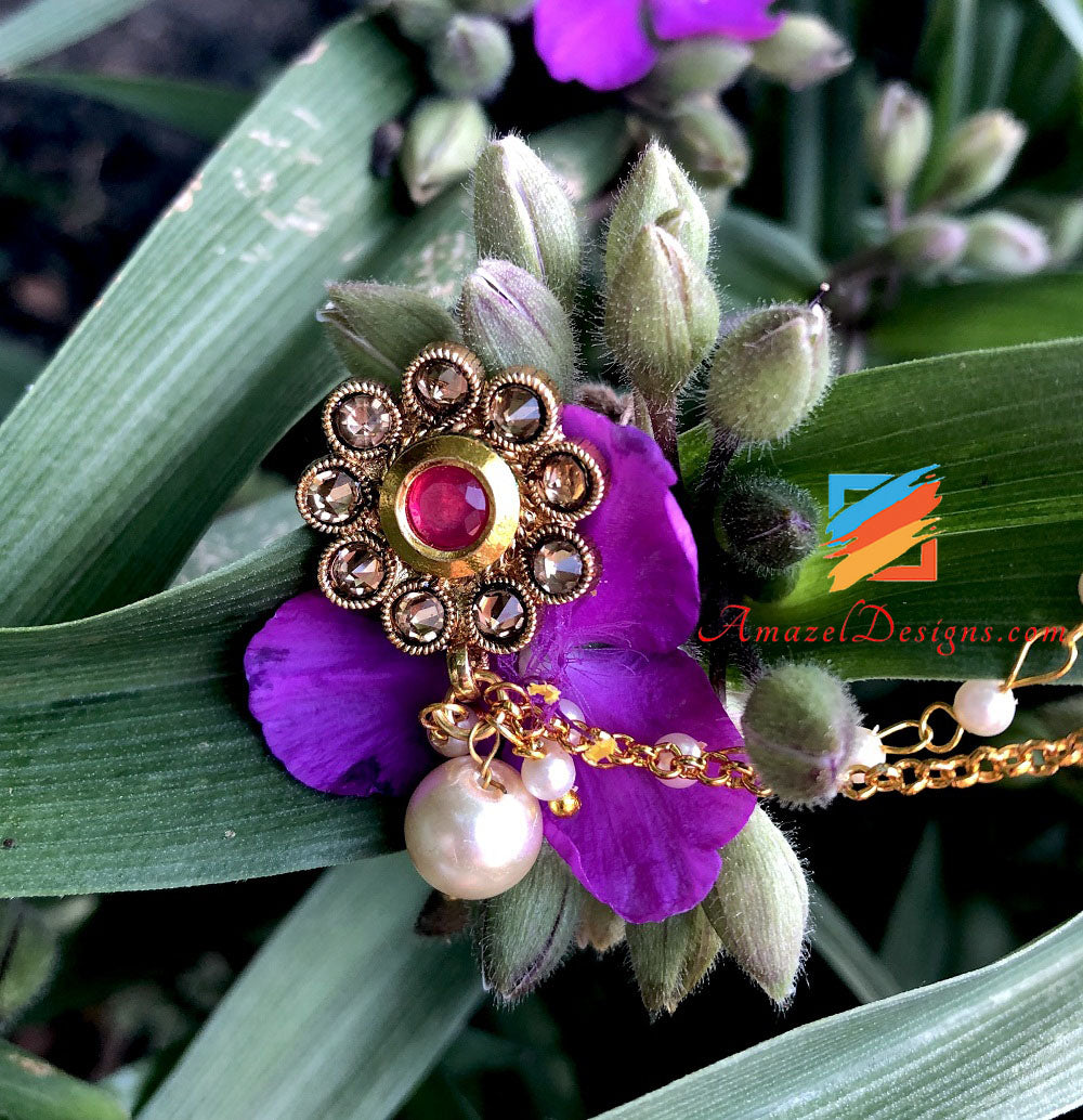 Clipon Golden Nose Ring with Magenta Stone