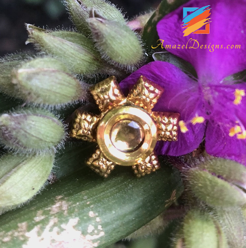Clip On Kundan Golden Nose Pin