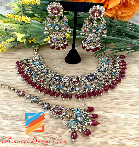Multicolored Polki Necklace Chandbali Jhumki Tikka Set