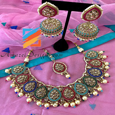 Multicolored Polki Necklace with Jhumki Tikka Set