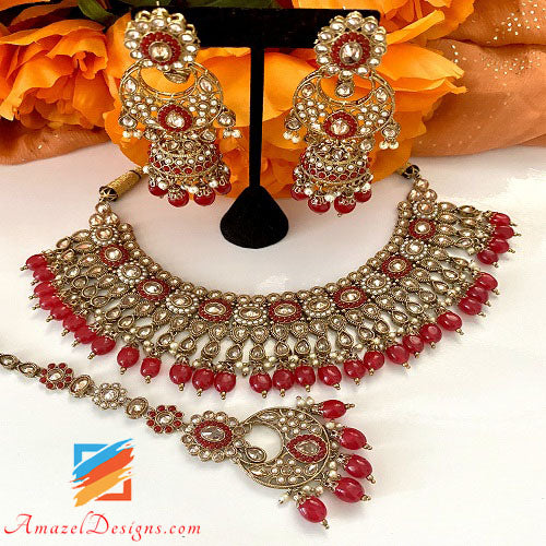 Polki Red Necklace with Chandbali Jhumki Tikka Set