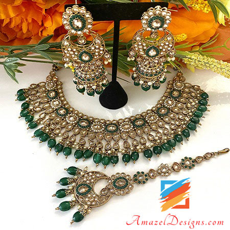 Emerald Beads Polki Necklace with Chandbali Jhumki Tikka Set