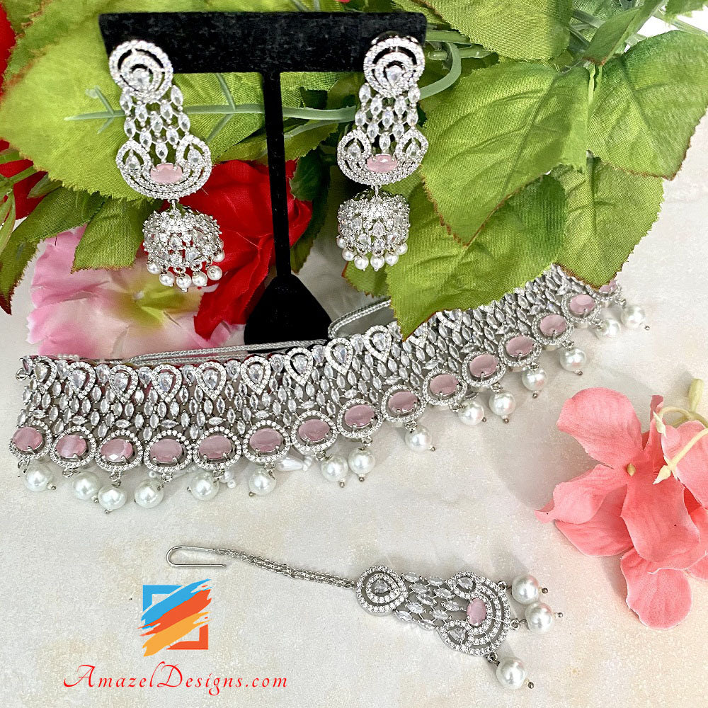 American Diamond (AD) Silver Pink Choker Necklace Earrings Tikka Set