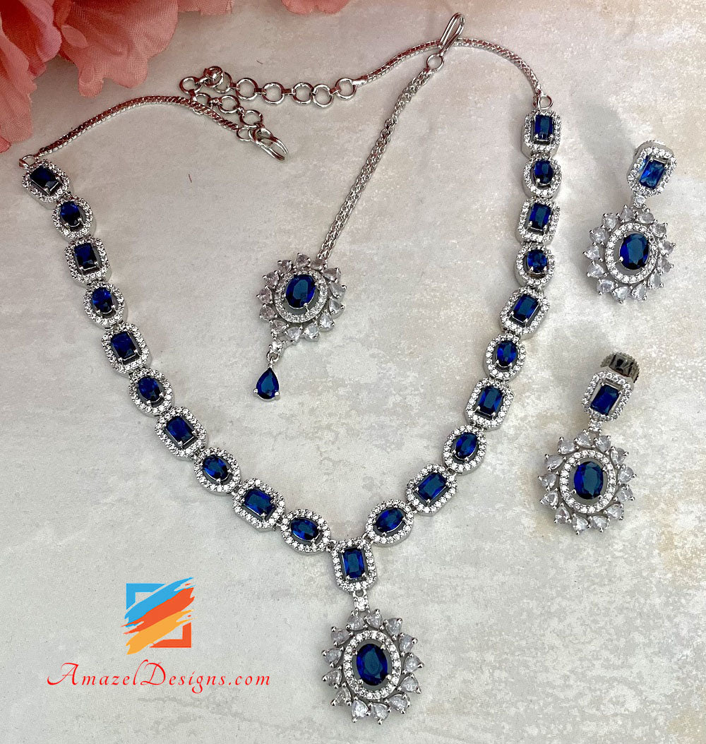 American Diamond (AD) Silver Blue Necklace Set