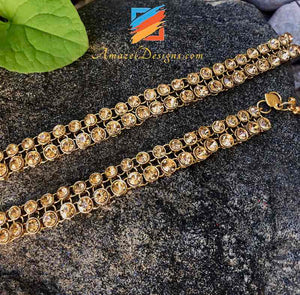Golden Payal with Golden Stones